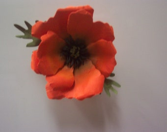 One Orange Paper Poppy refrigerator magnet