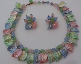 Vintage 1940s West Germany Celluloid Necklace Earrings Pastel Colors Demi Parure Hand Sewn
