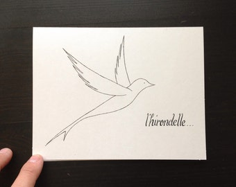 L'hirondelle greeting card - hand drawn