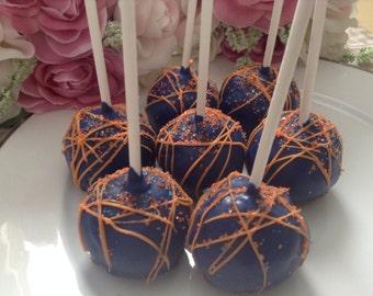 Blue Party Favors Orange Party Favor Blue Cake Pops Baby Shower Favors Wedding Favors Navy Blue Favors Orange Favors Custom Cake Pops