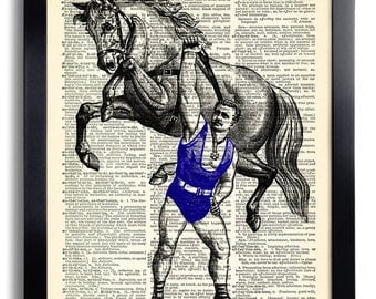 Acrobat Horse Circus Art Print Vintage Book Print Recycled Vintage Dictionary Page Collage Repurposed Book Upcycled Dictionary 129