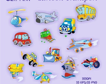 Cartoon transport Clipart Elements Set 35 PNG/35EPS For Personal and Commercial use Clip Art Instant Download