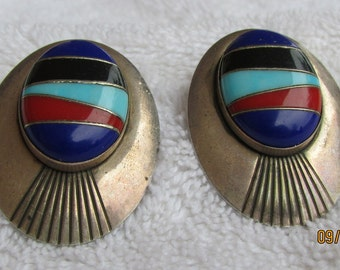 Large Sterling Silver Post Earrings with Colorful Inlay