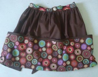 Vintage Style Utility Apron, 3 large pockets, half apron. Reduced price!