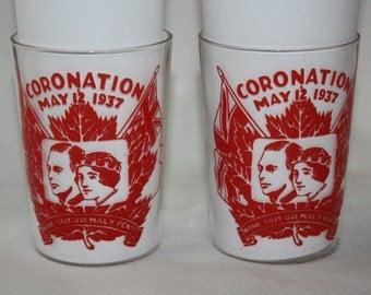 Vintage 1937 Coronation Glass Tumbler H.M. Queen Elizabeth & George VI Flag Set of 2