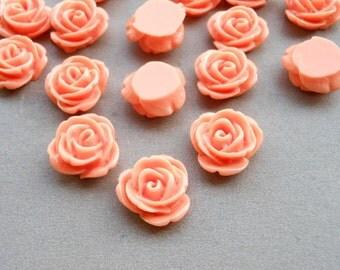 100pcs Orange Rose Flowers Cabochons Cameo Base Setting Resin Rose Flower 13mm