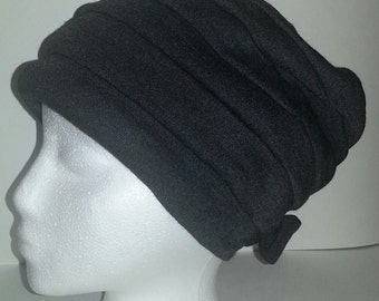 Vintage Dark Grey Gray Pull Down Beanie Hat, Made in France for Saks Fifth Avenue, with Bow. Laine Mélange Wool Hat. Pleated Hat.