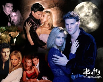 Buffy the Vampire Slayer Inspired Angel & Buffy Throw Blanket