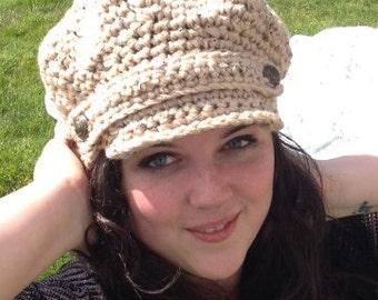 Free Crochet Pattern For Beanie With Bill : Womens Crocheted Newsboy Hat - Crocheted Cap - Womens ...