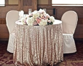 CHOOSE YOUR SIZE! Champagne Glitz Sequin Tablecloth vintage Wedding and Events! Custom sparkle table cloths, tablecloths, runners & overlays