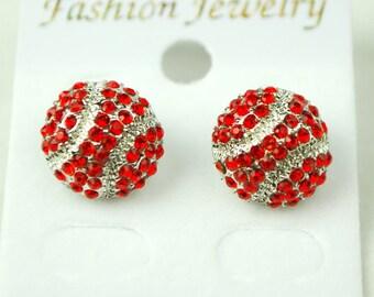 RED Fastpitch Softball or Baseball Rhinestone Stud Earrings