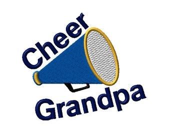 Cheer Grandpa Megaphone Machine Embroidery Design - 2 sizes