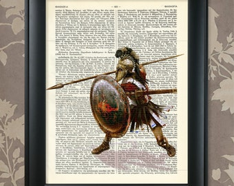 Athenian Hoplite, Athenian Soldier Art, Ancient Greece, Ancient Athens, Ancient Greek, Dictionary Art Print / Vintage Greek Encyclopedia