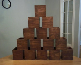 "Wood Box Wedding Centerpieces Brown Flower Planter Vase Box Candle Holder (15 - 5""x 5""x 5"" Boxes. Painted Brown Wash)"
