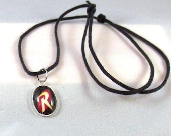 Robin Adjustable Cord Necklace, superhero necklace, custom jewelry, handmade jewelry, pendant necklace, Robin choker, superhero accessories