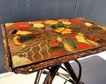 Vintage Handmade & Painted Willow Twig Bendwood Side Table