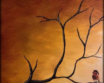 16x20 Autumn Bird Oil Painting