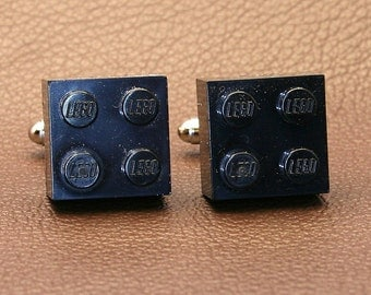 Classic Black Brick Cufflinks Made from LEGO® Brand 2x2 Blocks