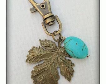 Turquoise leaf key ring/bag charm