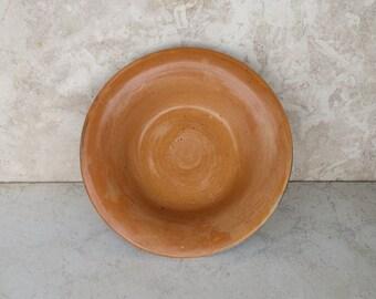 OOAK Rustic Orange And Flowers Bowl