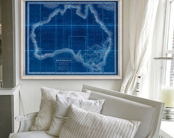 "Australia map 1846, Old map of Australia in Blue or Beige, 4 sizes up to 45x36"" (110x90 cm) Big map of Australia - Limited Edition of 100"
