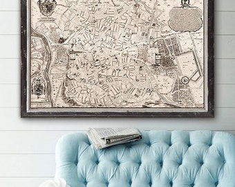 "Map of Madrid 1706, Old Madrid map, 4 sizes up to 45x30"" (110x75 cm) Large vintage map of Madrid, Spain - Limited Edition of 100"