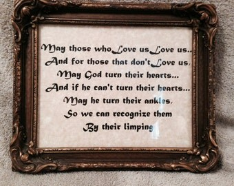 Antique framed Irish Blessing   *** FREE SHIPPING in the U.S. ***