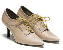 Walter Womens Leather Shoes Off White Ivory Cream High Heel Gold Lace Up Tie Booties Oxford Pumps Wedding Stiletto Bridal Brides Footwear