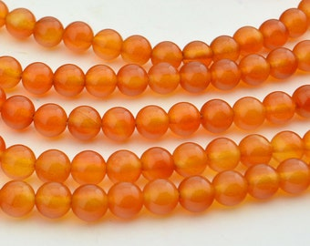 15 Inch Full Strand  Orange  Agate  8MM  Round  Bead