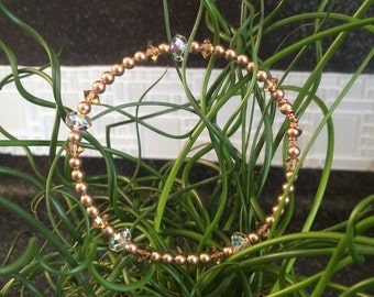 Champagne Swarovski Pearls and Crystal Bracelet