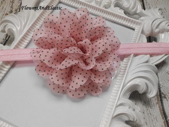 Pink with polka dot Frayed Lace,Chiffon flower Baby Headband, Newborn Headband,  Infant Headband,Baby Headband, Headband Baby, Baby Headband