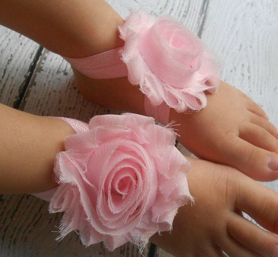 Baby Pink flower Baby Barefoot Sandals ,Shabby Flowers with White Elastic , Toddler Sandals ,Newborn Sandals ,Baby Flower Sandals