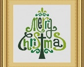 MERRY CHRISTMAS  -Counted cross stitch pattern /grille point de croix ,Cross Stitch PDF, Instant download , free shipping