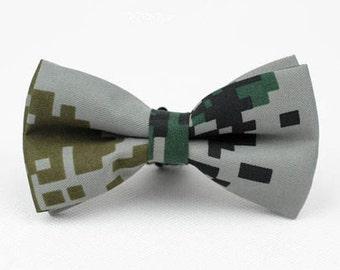 Camo Bow Tie.Mens Bow Tie.Grey Camouflage Bow Tie.Cotton Bow Tie