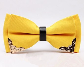 Silk Bow Tie.Mens Bow Tie.Wedding Bow Tie.Lemon Yellow Bow Tie  With Phnom Penh for Wedding