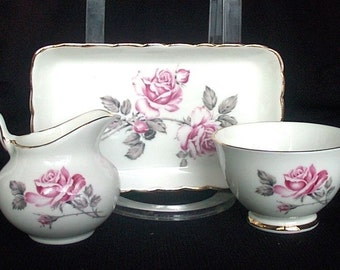 Sutherland Creamer And Sugar With Tray Pink Roses Gray Leaves