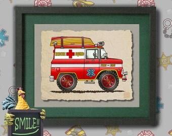 Kid Ambulance Art Cute red rescue van Whimsical vehicle  print adds to kids room emergency vehicles as 8x10 or 13x19 wall decor