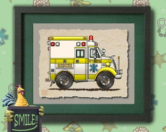 Kid Ambulance Cute box ambulance Whimsical vehicle  print adds to kids room emergency vehicles as 8x10 or 13x19 wall decor