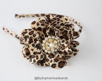Leopard Headband, Leopard Arch Headband, Hard Headband, Photography Prop, Leopard Flower Headband, Girl Headband, Animal Print Headband, 795