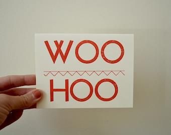 WOO HOO Letterpress Congratulations Card