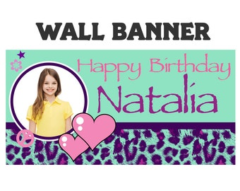 Cheetah Love Party Banner ~ Personalize Party Banners Indoor or Outdoor Photo Tween Birthday Banner