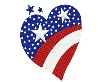 Independence Day Stars & Stripes Heart Fill Machine Embroidery DESIGN NO. 162
