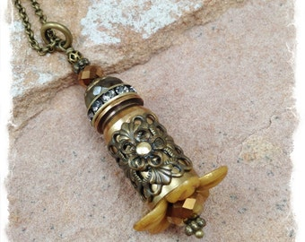 Bullet Necklace Pendant, Shell Casing Jewelry, Bullet Jewelry, Bullet Necklace Brass Necklace Old Gold Flower