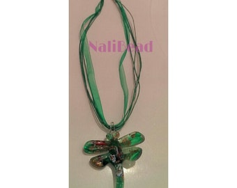 Green dragon fly necklace