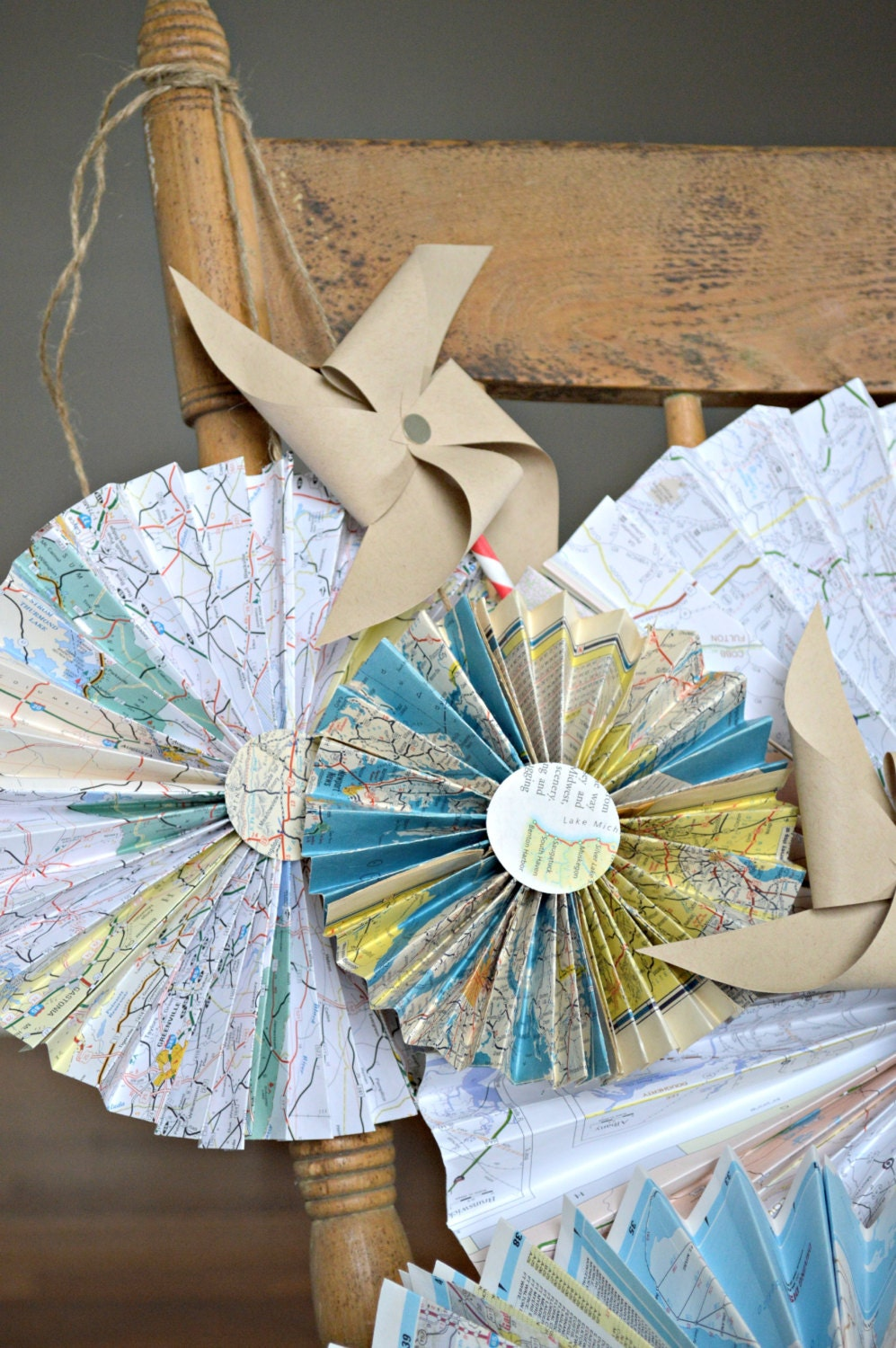 Vintage Travel Themed Party Decorations Map Medallions