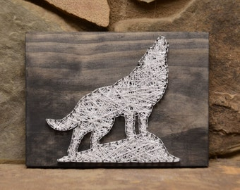 Custom Wood Wildlife Wolf String Art Home Decor, Cabin Decor