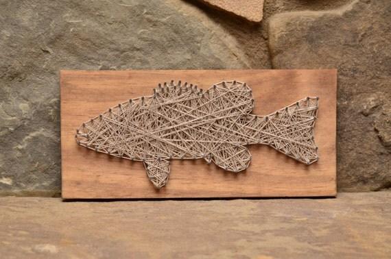Bass Fish String Art Cabin Decor Lake Cottage Decor By