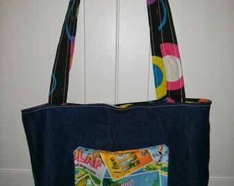 Tote Bag - Disney Frozen Olaf Summer Tote Bag! Dark denim bag with Olaf pocket. Purse, tote, reusable, reversible bag