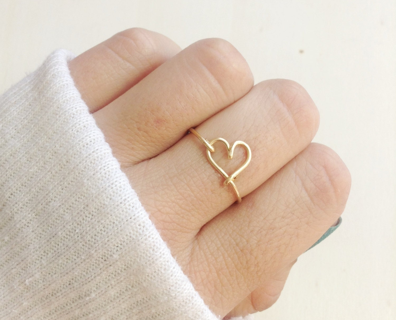 dainty gold heart ring tiny love ring stackable gold or. Black Bedroom Furniture Sets. Home Design Ideas