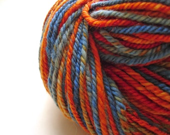 Koi Pond--Hand Spun Hand Dyed Finn Wool, 3 ply, 4oz, 107 yards